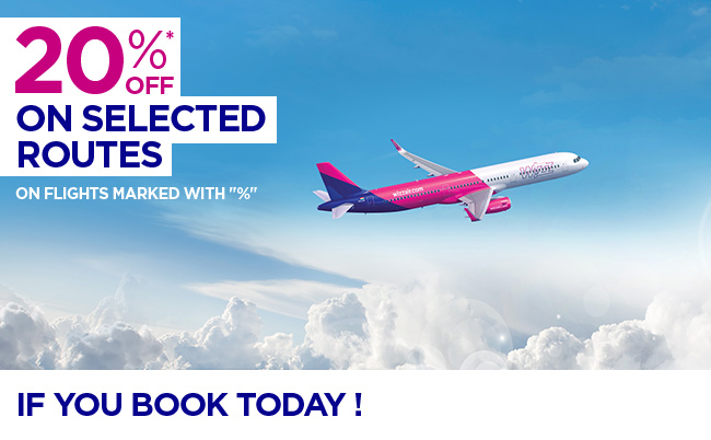 20% offselected flights, only if you book today!